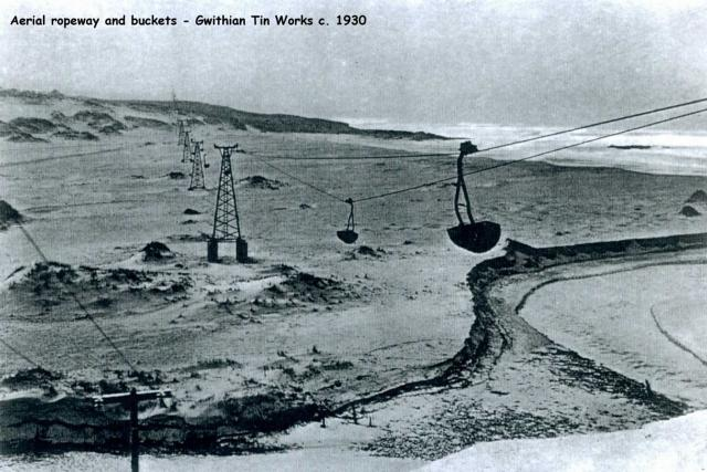 Aerial ropeway and buckets - Gwithian Tin Works c. 1930
