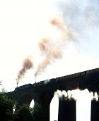 King Edward 1st and 5029 Nunney Castle on Angarrack Viaduct heading east